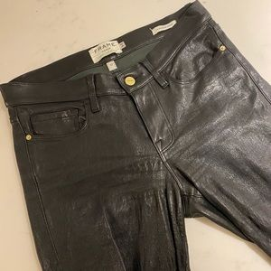 FRAME leather jeans